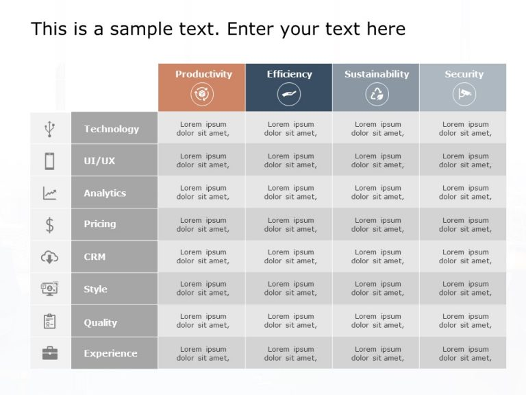 Product Features Table Template