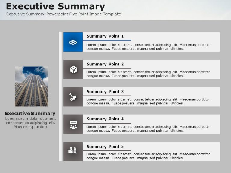 Executive Summary Powerpoint Five Point Image Template