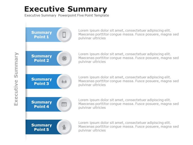 Executive Summary Powerpoint Five Point Template 1