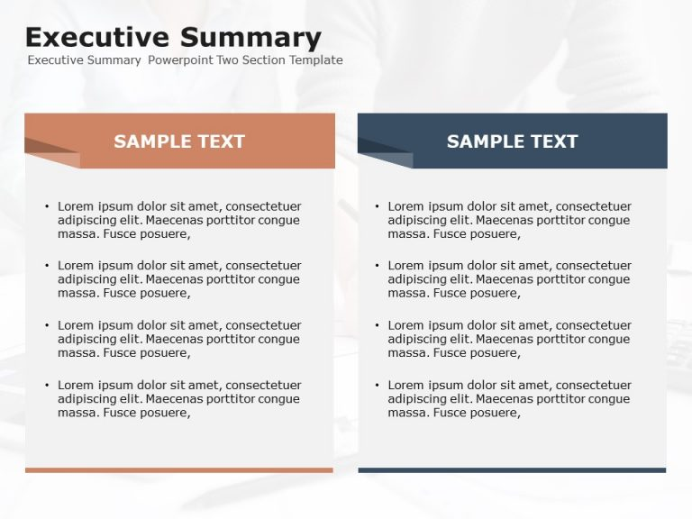 Executive Summary Powerpoint Two Section Template