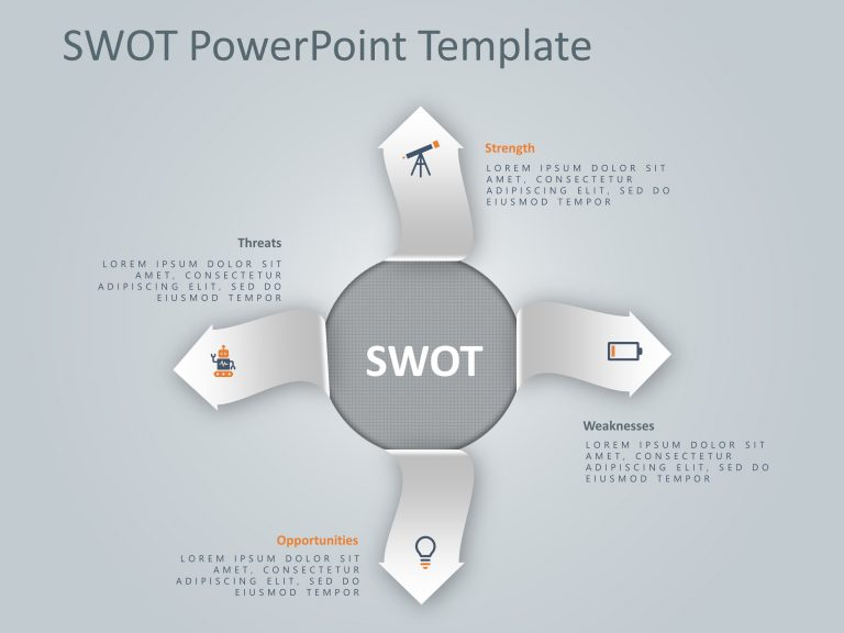 4 Steps Arrows SWOT PowerPoint