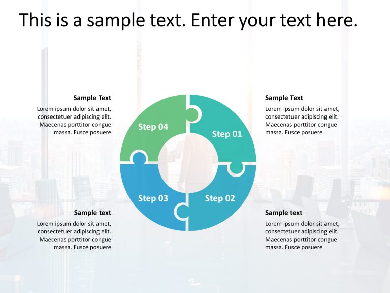 4 Steps Circular Puzzle PowerPoint