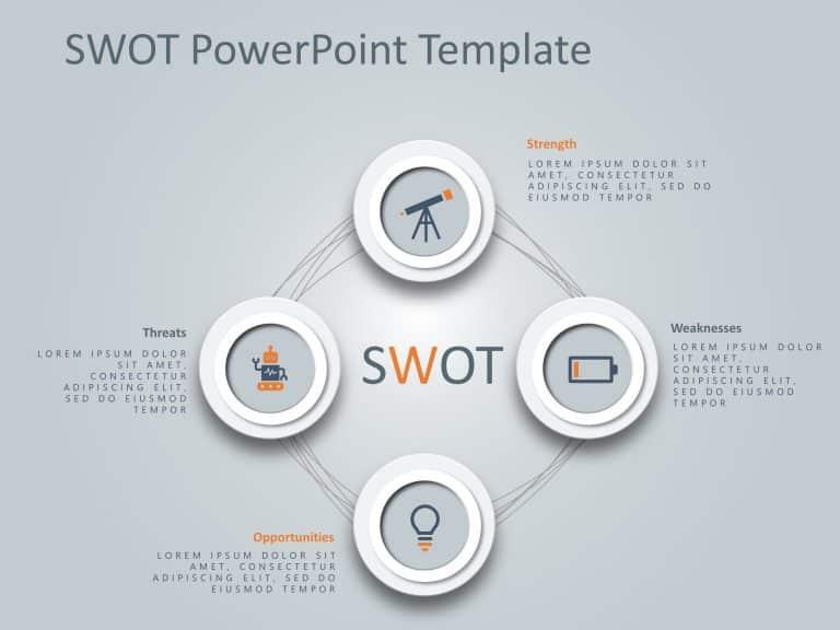 4 Steps Circular SWOT PowerPoint