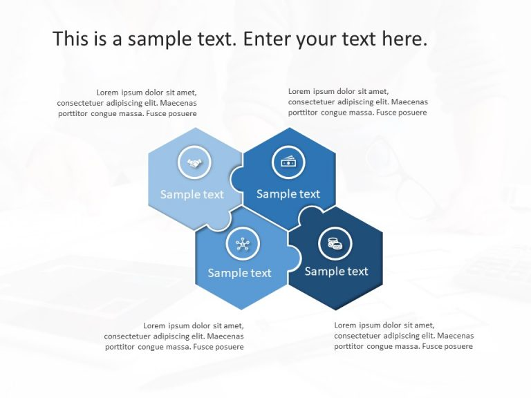 4 Steps Hexagon Puzzle Strategy PowerPoint Template