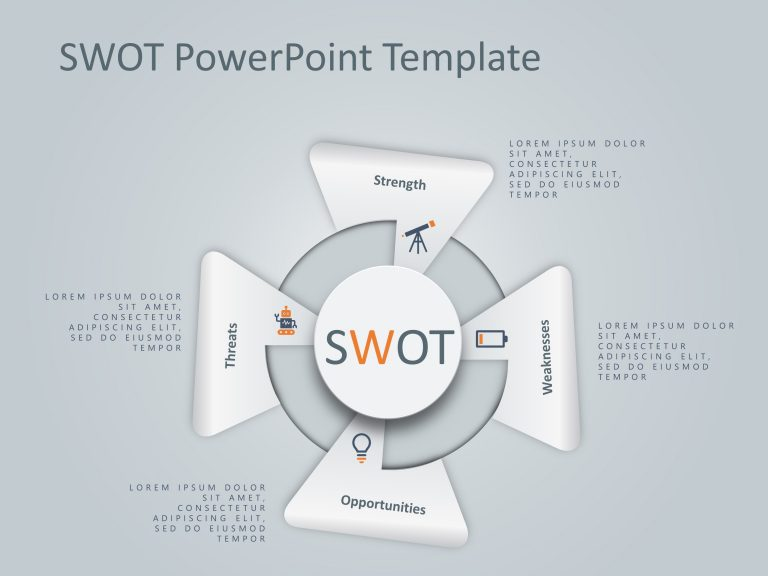 4 Steps Triangle SWOT PowerPoint