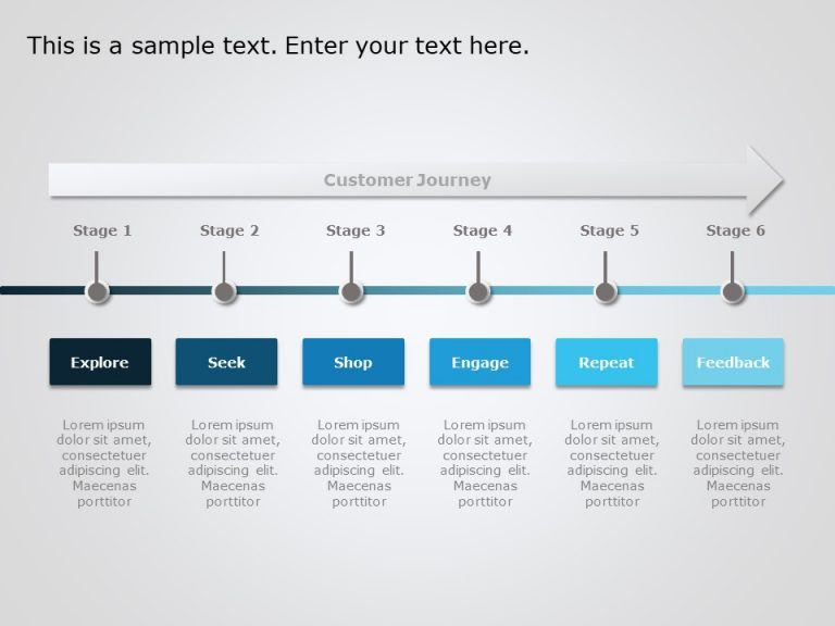 6 Steps Customer Journey PowerPoint