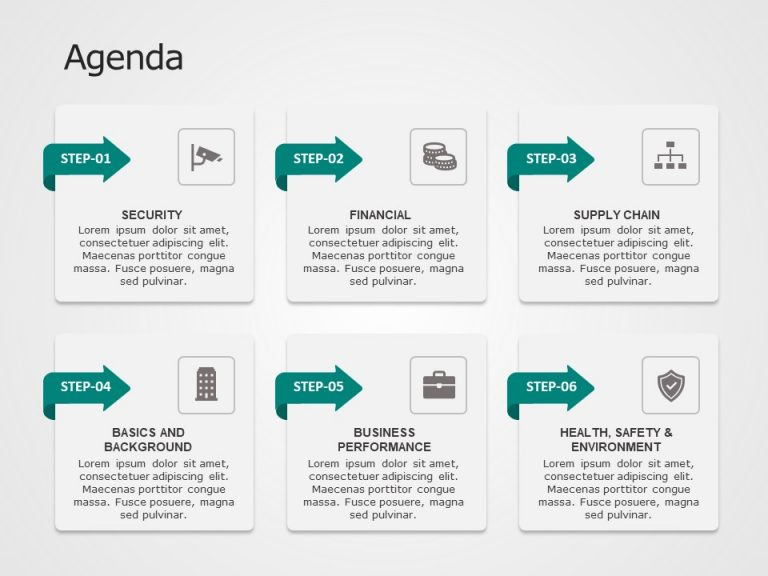 Agenda 6 Steps PowerPoint