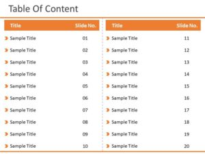 Table of Contents 20 Steps